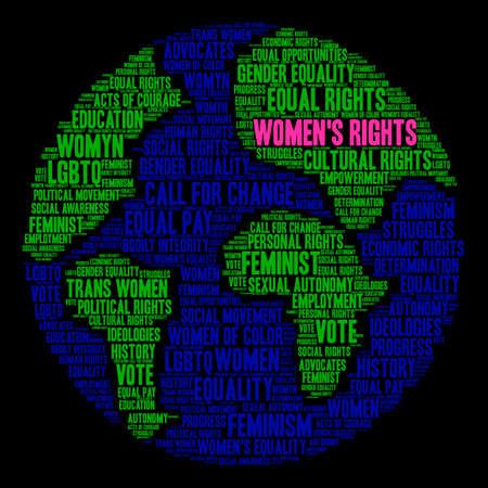 Womens Rights woord wolk op een zwarte achtergrond.