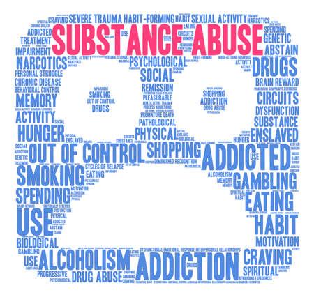 Substance Abuse woord wolk op een witte achtergrond.