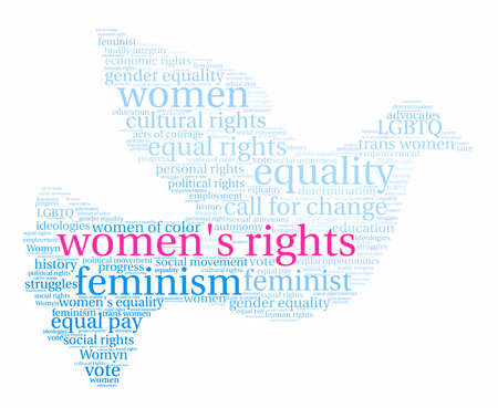 Womens Rights woord wolk op een witte achtergrond.