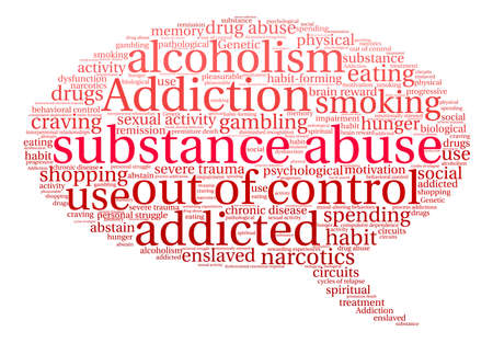 Substance Abuse word cloud on a white background. Çizim