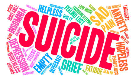 Suicide word cloud on a white background. Фото со стока - 71666403