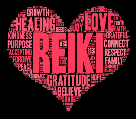 Reiki word cloud on a black background. Reklamní fotografie - 71666443