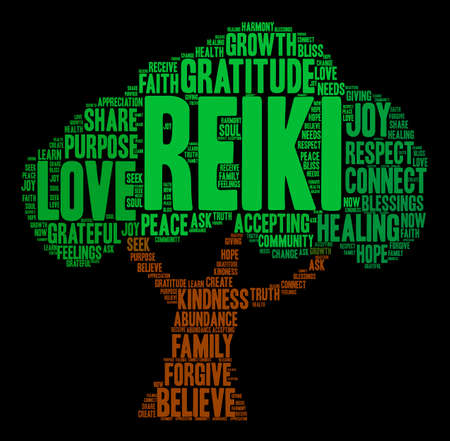Reiki word cloud on a black background. Reklamní fotografie - 71671180