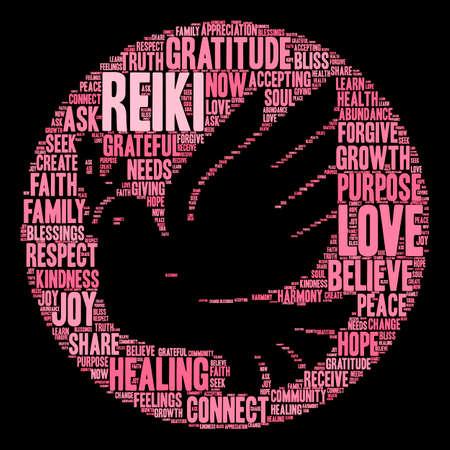 Reiki word cloud on a black background. Ilustracja