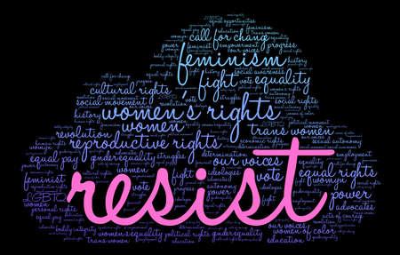Resist word cloud on a black background.