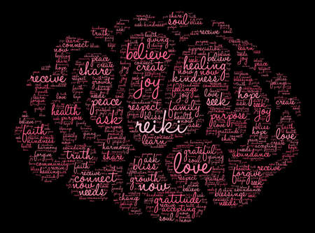 Reiki word cloud on a black background. Çizim