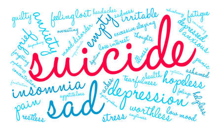 Suicide word cloud on a white background. Фото со стока - 71667005