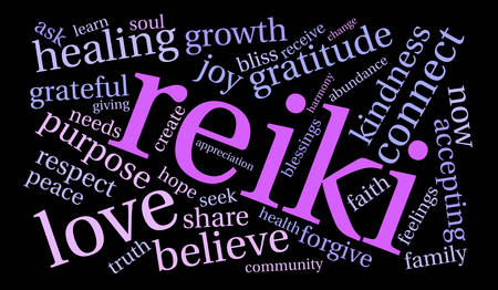 Reiki word cloud on a black background. Reklamní fotografie - 71684665