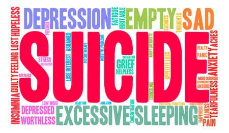Nuage de mot suicide sur un fond blanc. Banque d'images - 71667048