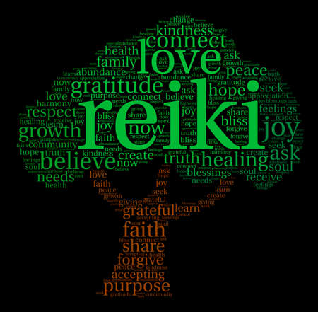 Reiki word cloud on a black background. Ilustracja