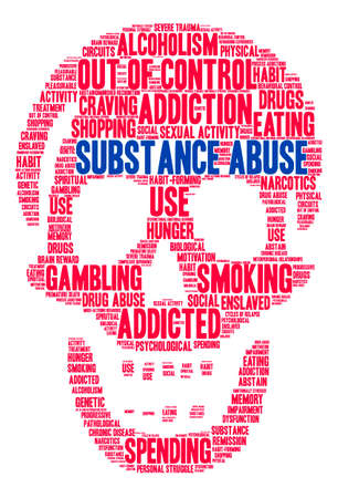 memory drugs: Substance Abuse word cloud on a white background. Illustration