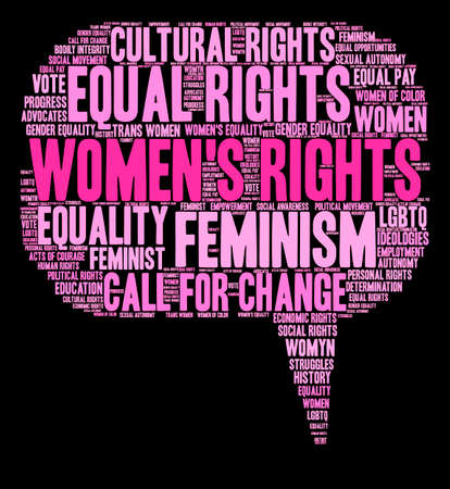 struggles: Womens Rights word cloud on a black background.