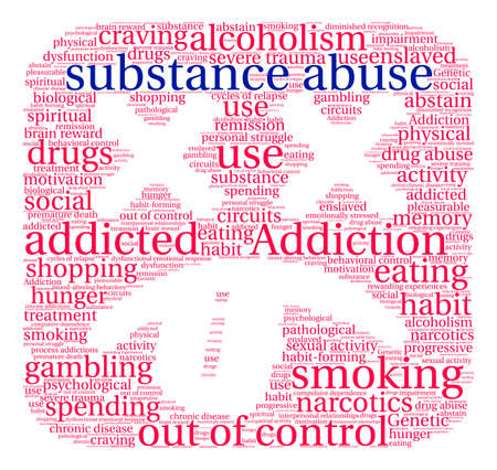 Substance Abuse word cloud on a white background. Illusztráció
