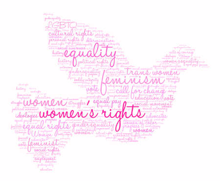 Womens Rights word cloud on a white background. Çizim