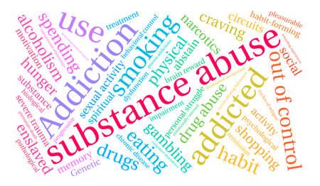 白い背景の上の薬物乱用の単語の雲。
