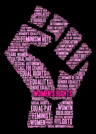 Womens Rights word cloud on a black background. Banco de Imagens - 71670436
