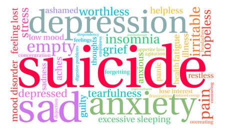 Suicide word cloud on a white background. Фото со стока - 71670454