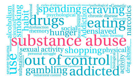 Substance Abuse word cloud on a white background. Stock fotó - 71668045