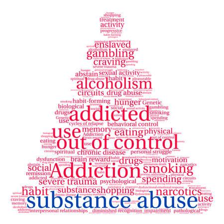 Substance Abuse word cloud on a white background. Ilustração