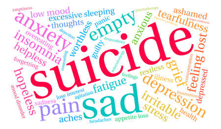 guilt: Suicide word cloud on a white background.