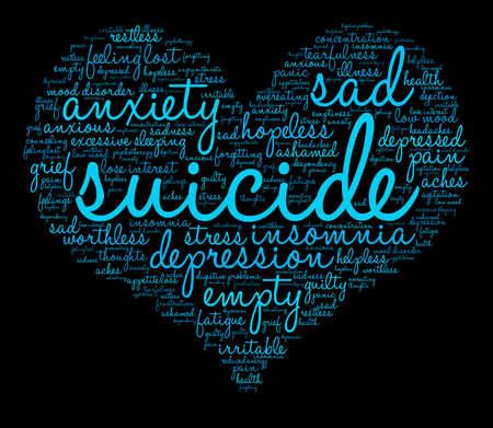 Nuage de mot suicide sur un fond blanc. Banque d'images - 71670497