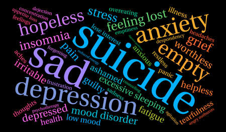 Suicide word cloud on a white background. Фото со стока - 71668143