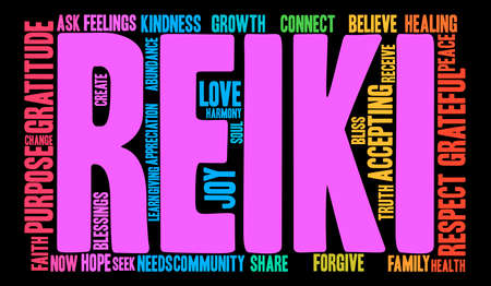blessings: Reiki word cloud on a black background. Illustration