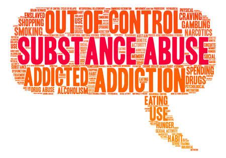compras compulsivas: Abuso de Sustancias nube de palabras sobre un fondo blanco. Vectores