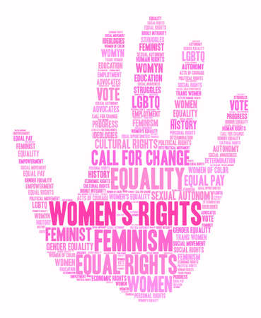 autonomía: Womens Rights word cloud on a white background. Vectores