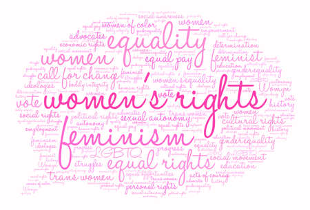 social history: Womens Rights word cloud on a white background. Illustration