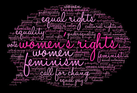 autonomía: Womens Rights word cloud on a black background.