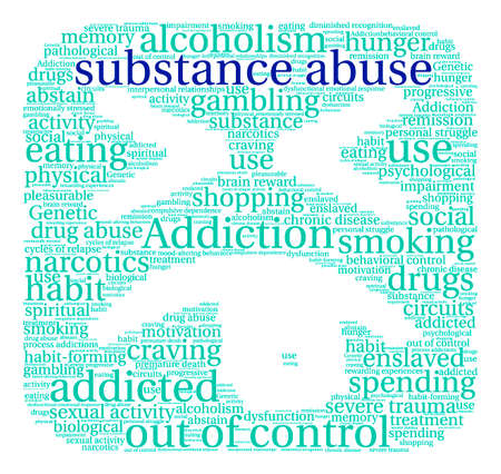 dysfunctional: Substance Abuse word cloud on a white background. Illustration