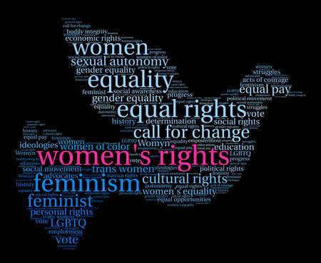 womens work: Womens Rights word cloud on a black background.