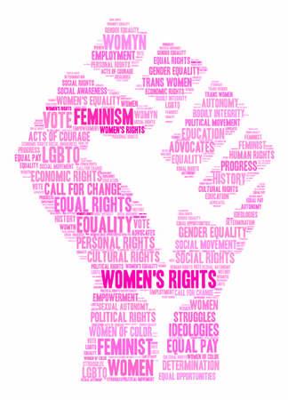 Womens Rights Wortwolke auf einem weißen Hintergrund.