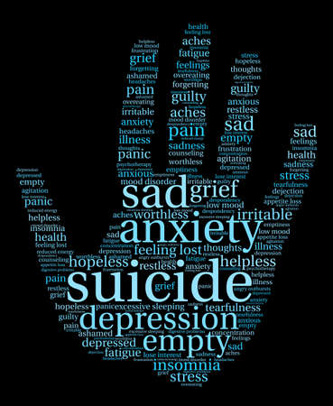 Suicide Wortwolke auf einem weißen Hintergrund. Vektorgrafik