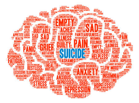 behavior: Suicide word cloud on a white background.
