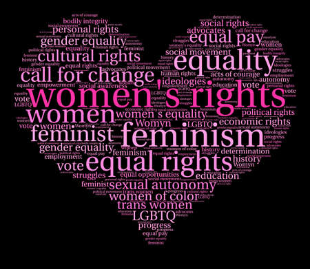 Womens Rights word cloud on a black background. Banco de Imagens - 72145152