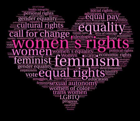 Womens Rights Wort Wolke auf einem schwarzen Hintergrund Vektorgrafik