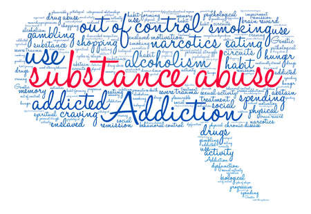 response: Substance Abuse word cloud on a white background. Illustration