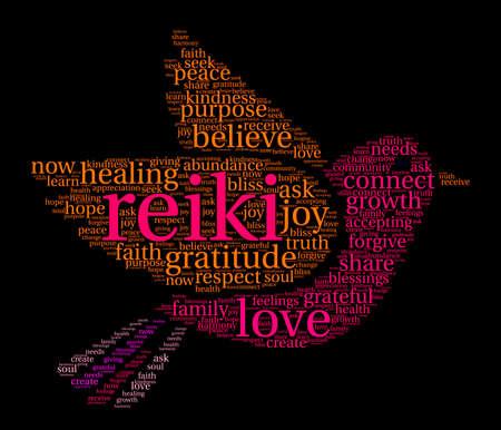 Reiki word cloud on a black background. Illustration