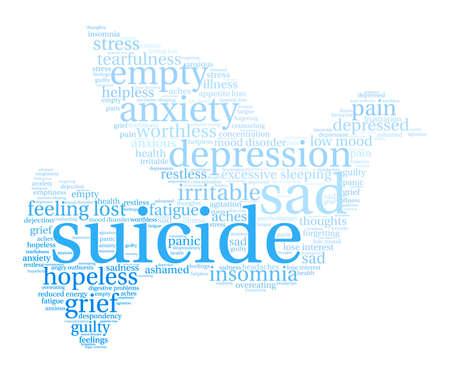 Zelfmoord woord wolk op een witte achtergrond.