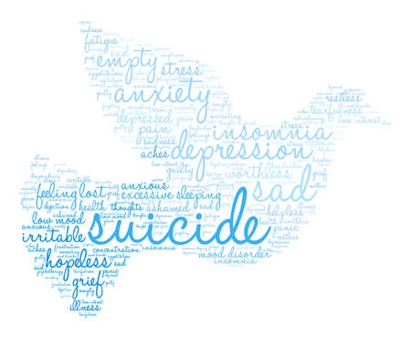 despondency: Suicide word cloud on a white background.