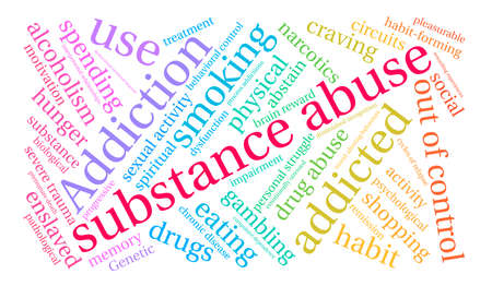 Substance Abuse word cloud on a white background. Vettoriali