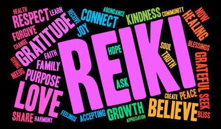 Reiki word cloud on a black background. Vectores