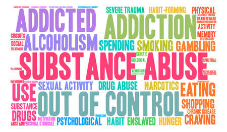 Substance Abuse word cloud on a white background. Vectores
