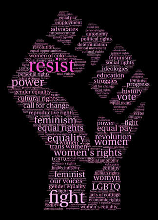 call history: Resist word cloud on a black background.