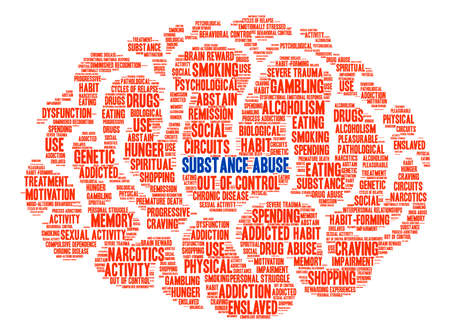 Substance Abuse word cloud on a white background. Vector Illustration