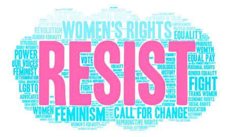 女性の権利には、白い背景の上の単語の雲が抵抗します。  イラスト・ベクター素材