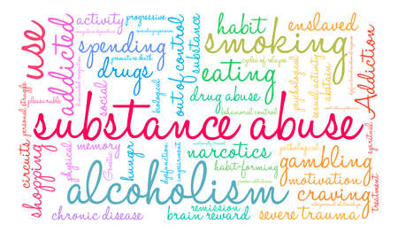 Substance Abuse word cloud on a white background. Ilustrace