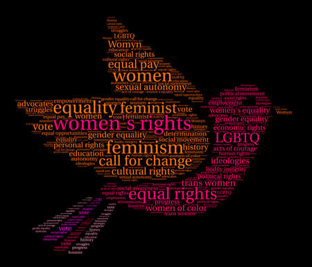 Womens Rights word cloud on a black background. Stock Vector - 73952056